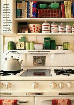 A refurbished 1949 Wedgewood stove is the perfect backdrop for  this homeowner's collection of vintage kitchenware. (scheduled via http://www.tailwindapp.com?utm_source=pinterest&utm_medium=twpin&utm_content=post54416016&utm_campaign=scheduler_attribution)