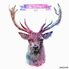 Wektor: Vector set of watercolor illustrations. Cute deer