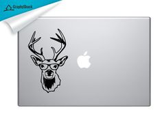 Classy Nerdy Deer With Glasses - Stylish Nerdy Decal For Your MacBook, Dell and Other Laptop