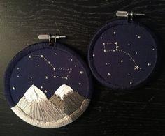 Embroidery Hoop Art Set: Ursa Major & Ursa Minor ok but AROUND THE HOOP?? whoa
