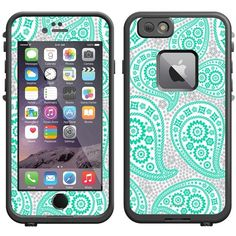 Skin Decal for LifeProof Apple iPhone 6 Case Paisley Green and Flowers... ❤ liked on Polyvore featuring accessories and tech accessories