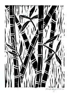 Bamboo block print 5x7 black original linocut home by ruthsartwork