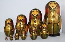 """Russian Nesting Dolls Signed Gold Icon Christian Madonna Jesus Murals 10"""" to 3/4"""