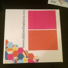 Hexagon layout made with look on the Brightside designer print paper #scrapbookpages #creativememories