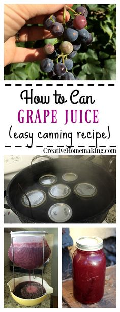 Easy recipe for canning old-fashioned homemade grape juice. Learn how to make homemade grape juice like a pro!