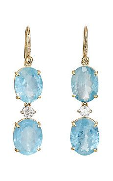 Irene Neuwirth Mixed Gemstone Triple Drop Earrings Aquamarine Stone Barneys New York