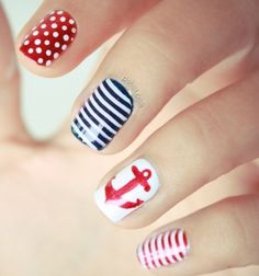Sailor themed nails - Perfect for summer!