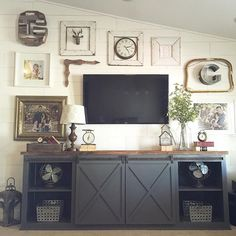 Ana white build a grandy sliding door console free and easy diy project and Barn Door Console, Console Table, Barn Doors, Console Cabinet, Cabinet Doors, Modern Farmhouse Style, Farmhouse Style Decorating, Furniture Plans, Diy Furniture