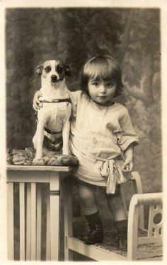 -- It reminds me of how very much my pets always meant to me as a child and how bonded I was to all of them.(Vintage Photo: Edwardian child posing with their beloved Jack Russell Terrier). Vintage Abbildungen, Images Vintage, Vintage Pictures, Vintage Photographs, Old Pictures, Vintage Shoes, Jack Russell Terriers, Vintage Children Photos, Tier Fotos