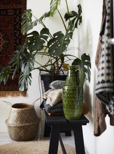 IKEA Deutschland | Keramik und Pflanzen auf einer Bank, u. a. mit FLÅDIS Korb Seegras/schwarz