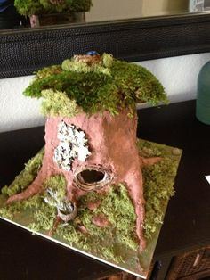 Fairy house made with paper mache and moss