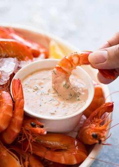 5 great shrimp / prawn dipping sauces: Seafood Cocktail Sauce, Tartare Sauce, Marie Rose / Thousand Island (Pink Sauce), Thai Sauce & our Family Favourite! Shrimp Sauce Recipes, Shrimp Dipping Sauce, Seafood Recipes, Appetizer Recipes, Cooking Recipes, Dipping Sauces, Appetizers, Shellfish Recipes, Diabetic Recipes