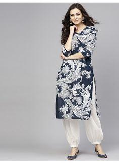 Buy AKS Women Beige & Grey Printed Kurta With Salwar - - Apparel for Women Stylish Dress Designs, Dress Neck Designs, Designs For Dresses, Stylish Dresses, Women's Fashion Dresses, Blouse Designs, Casual Dresses, Fashion Pants, Trendy Outfits