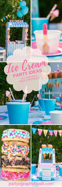 Ice Cream Themed Birthday Party from Partyography | partyographybyalli.com ... #icecream #dessert #birthdayparty #sprinkles #diy #partyideas #icecreamsandwiches #icecreamstand #icecreamspoons #woodenspoons #birthdaybanner #decorations #pink #howtovideo