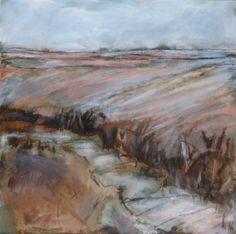 'Yorkshire Wolds in Winter', Janine Baldwin, oil & charcoal on canvas, 47 x 47cm  www.janinebaldwin.co.uk