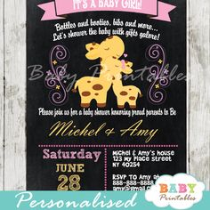 Beautiful Pink Giraffe Baby Girl Chalkboard Personalized Baby Shower Invitation card. This printable invite card features a sweet mother and baby giraffe on a chalkboard background. #babyprintables