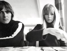 1965 - George Harrison and his wife Pattie Boyd in Help! film (backstage photo).