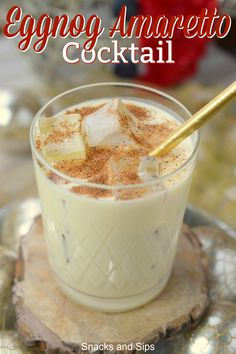Add this decadent Eggnog Amaretto Cocktail to your holiday menu! With delicious . Add this decadent Eggnog Amaretto Cocktail to your holiday menu! With delicious flavors, you'll love serving this dr Christmas Drinks Alcohol, Holiday Drinks, Fun Drinks, Yummy Drinks, Holiday Recipes, Eggnog Drinks, Beverages, Best Christmas Cocktails, Recipes