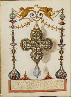 Hans Memling, The Jewel Book of the Duchess Anna of Bavaria Hans Memling, Jewelry Art, Jewelry Design, Precious Book, Renaissance Jewelry, Jewellery Sketches, Book Of Hours, Herzog, Illuminated Manuscript