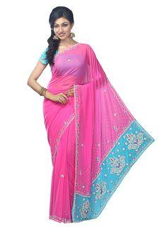 Pink Chiffon Embellished Saree