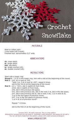 Crochet Snowflake - Pattern, video tutorial