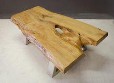 Lansdowne Coffee Table with Yellowwood top and metal base
