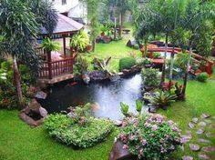 Ethnic-gazebo-ideas-with-gorgeous-red-bridge-fish-pond; perhaps water could fall over a flat rock beneath the gazebo into a bog garden.