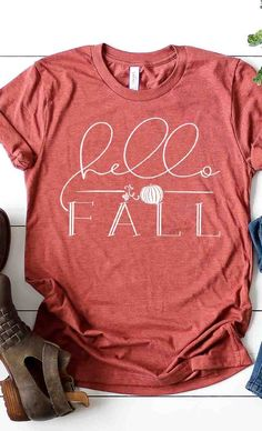 Hello Fall Tee in Heather Clay Grace And Co, Fall Shirts, Mohair Sweater, Hello Autumn, Online Shopping For Women, Contemporary Fashion, Wholesale Clothing, Love Fashion, Graphic Tees