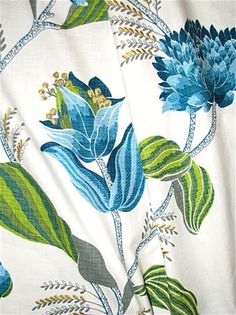 Large scale blue and green botanical print fabric with gold embroidered accents. Create stunning decorator window panels, bedding or light use upholstery. Peacock Fabric, Fabric Outlet, Desert Flowers, Toilet Paper Roll Crafts, Window Panels, Drapery Fabric, Textile Prints, Botanical Prints, Printing On Fabric