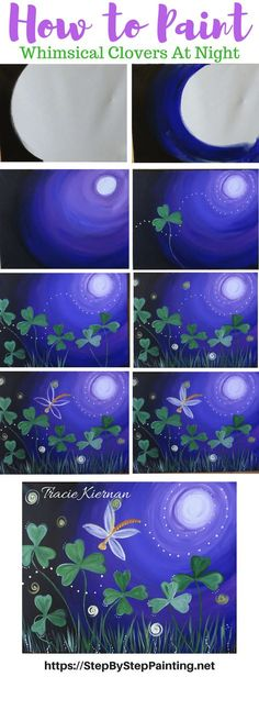 How To Paint Whimsical Clovers at Night - Step by Step Painting by Tracie Kiernan. Learn how to paint this easy acrylic painting for beginners! A moon, some dancing clovers and a firefly!