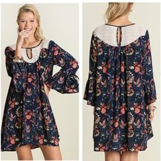 """🎀New Listing🎀. Boho Flowy Floral Navy Dress Brand New Never worn. Boho flowy  Floral Navy dress with  beautiful lace insert by the neck area.  Loose fit . Hint of sheer, Material is light and Airy, Cotton blend, a back keyhole button and a front cutout.                                                 Small 👉Bust 36-38""""👉Length 35"""".   Medium👉Bust 38.5-40""""👉Length 36"""", Large👉Bust 40.5-44""""👉Length 37"""".  Price firm.  Bundle of 3 for 15% Discount Flirty Meow Boutique Dresses Mini"""