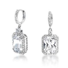 Pave Emerald Cut Diamond Dangle Earrings