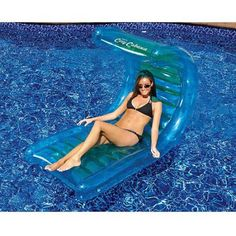 Swimline Cozy Cabana 56 inch Inflatable Pool Lounger, Blue