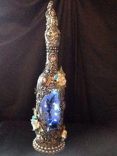 Fairy light up magical bottle, led nightlight, special ooak gift, all handmade. Night Light, Light Up, Bottle Lights, Mythical Creatures, Fairy Lights, Ornament, Led, Glass, Handmade