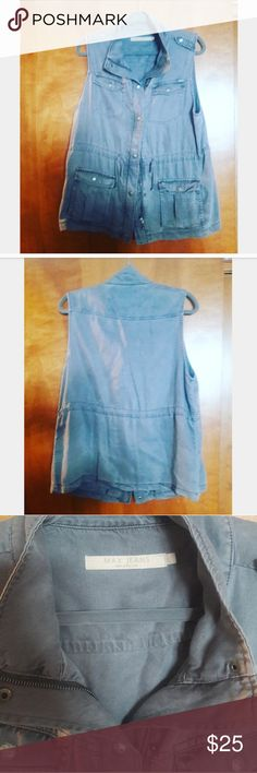 MAX JEANS Vest Gray drawstring vest made of 100% Tencel. Has a silky feel to it. Worn once over a sweater. Max Jeans Jackets & Coats Vests