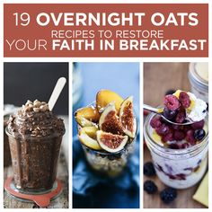 19 Overnight Oats Recipes To Restore Your Faith In Breakfast. I loved these recipes so much i have Overnight Oats every day for breakfast. My go to recipe is one I found on Lauren Conrad's Web Site, for the most basic recipe, only 5 ingredients! Breakfast And Brunch, Breakfast Recipes, Breakfast Options, Overnight Oats, Overnight Breakfast, Healthy Snacks, Healthy Eating, Good Food, Yummy Food