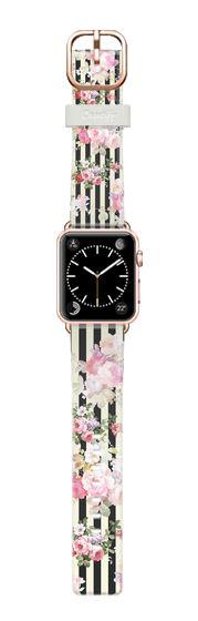Casetify Apple Watch Band (42mm) Casetify 時計バンド - Elegant pink floral vintage yellow black stripes by Pink Water #Casetify
