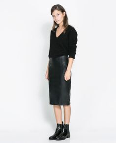 ZARA - NEW THIS WEEK - SYNTHETIC LEATHER PENCIL SKIRT