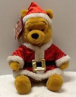 "DISNEY Santa Suit  POOH 12"" Plush MINT GREAT GIFT! FREE SHIPPING!"