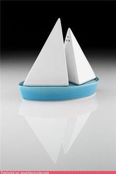 sailboat shaped salt and pepper shaker