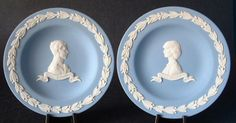 This is a pair blue jasper or jasperware plates made to commemorate the Royal Wedding of Prince Charles and Princess Diana in 1981 by Wedgwood, England. Each of the pair of plates measures 4.5 inches