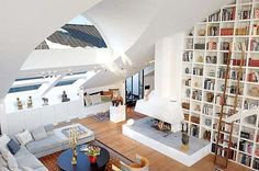 The Loft of My Life. check out those skylights! - Amazing Stockholm Loft With 16 Feet Ceilings Apartment Decoration, Design Apartment, Apartment Interior, York Apartment, Attic Apartment, Interior Office, Dream Apartment, Studio Apartment, High Ceiling Decorating