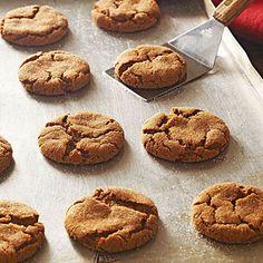 Molasses Cookies.  Ohio State Fair blue ribbon recipe.  Flour, baking soda, cinnamon, ginger, nutmeg, allspice, salt, shortening, brown sugar, egg, molasses, sugar.