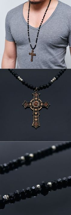 Accessories :: Necklaces :: Gold Baroque Cross Long Cubic Beads-Necklace 186 - Mens Fashion Clothing For An Attractive Guy Look
