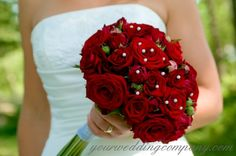 I have always longed for an all red bouquet or red roses to match my wedding gown. But I wanted an individualized handmade bouquet for my pr. Red Bouquet Wedding, Winter Wedding Flowers, Rose Wedding, Bridesmaid Bouquet, Purple Wedding, Wedding Colors, Dream Wedding, Bridal Bouquets, Boquet