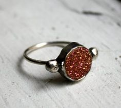 Just Peachy Drusy and Sterling Silver Ring