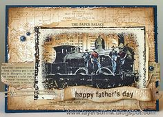 Father's Day card by Anna-Karin Evaldsson using Darkroom Door Emulsion Frame Stamp, Steam Locomotive Collage Stamp, World Map Background Stamp and All Occasions Rubber Stamps. Fathers Day Cards, Happy Fathers Day, Trains, Card Creator, Diy Cards, Men's Cards, Beautiful Handmade Cards, Masculine Cards, Card Tags