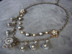 Silver grey 2 strand necklace, Vintage Meadow Artworks flowers.