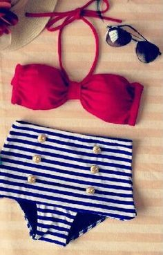 Sexy Stripes Bow Retro High Waist Swimsuits (White and Red Top and Blue Bottom)…