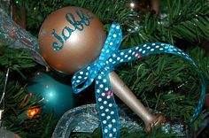 Christmas ornament that looks like a baby rattle